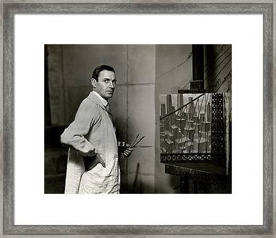 Gardner Hale In Front Of A Painting Framed Print by Paul Hansen
