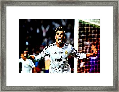 Gareth Bale Celebration Framed Print by Brian Reaves