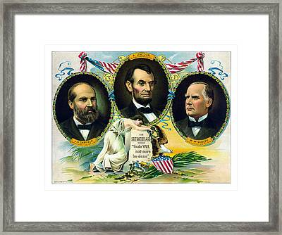 Garfield Lincoln And Mckinley In Memoriam Framed Print by War Is Hell Store