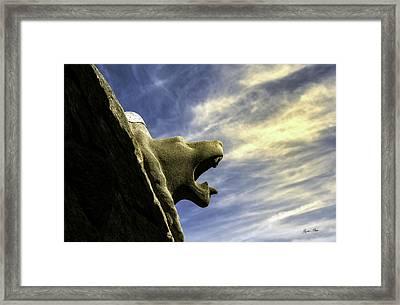 Gargoyle At Parc Guell In Barcelona - Spain Framed Print by Madeline Ellis