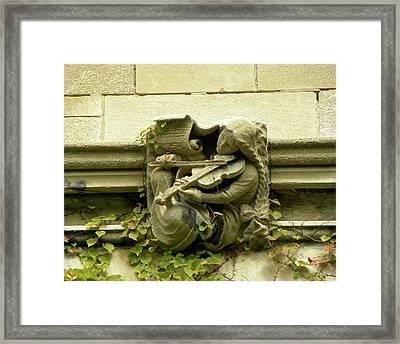 Gargoyle Musician University Of Chicago 2009 Framed Print