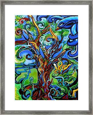 Gargoyle Tree With Crow Framed Print by Genevieve Esson