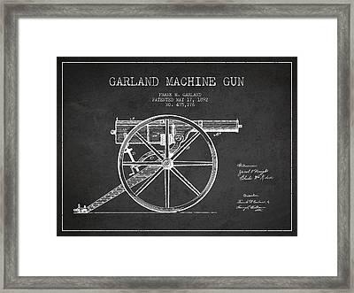 Garland Machine Gun Patent Drawing From 1892 - Dark Framed Print by Aged Pixel