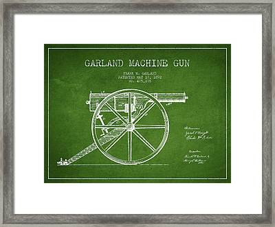 Garland Machine Gun Patent Drawing From 1892 - Green Framed Print