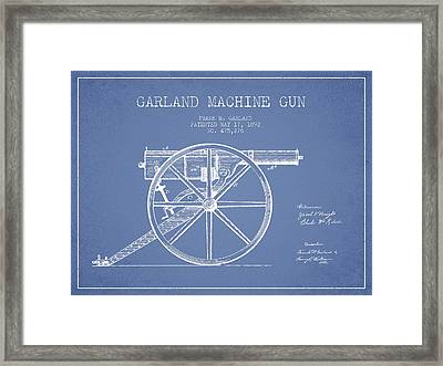 Garland Machine Gun Patent Drawing From 1892 - Light Blue Framed Print by Aged Pixel