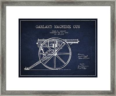 Garland Machine Gun Patent Drawing From 1892 - Navy Blue Framed Print by Aged Pixel