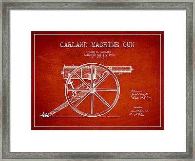 Garland Machine Gun Patent Drawing From 1892 - Red Framed Print
