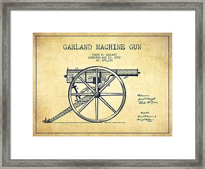 Garland Machine Gun Patent Drawing From 1892 - Vintage Framed Print