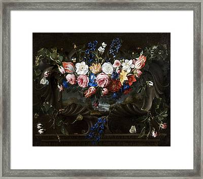 Garland Of Flowers In A Cartouche With A Landscape Behind Framed Print by Juan de Arellano