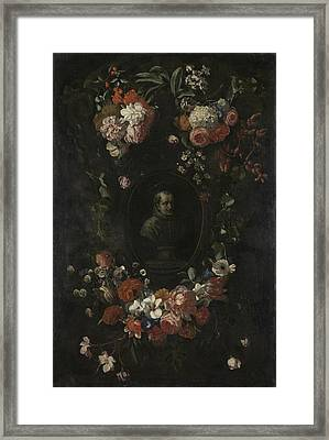 Garland Of Flowers Surrounding Portrait Of Hieronymus Van Framed Print by Litz Collection