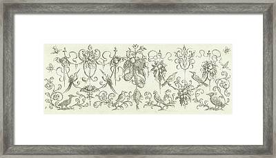 Garlands With Fruits And Cherubs, Print Maker Henry Le Roy Framed Print by Henry Le Roy And Michiel Le Blon And Anonymous