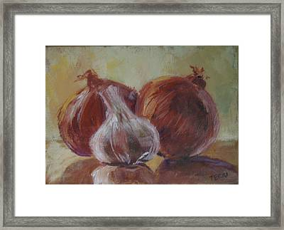 Garlic And Onions Framed Print by Terri Messinger