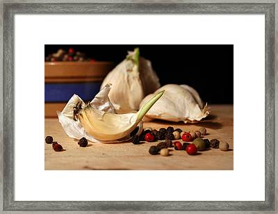 Garlic And Peppercorns Framed Print