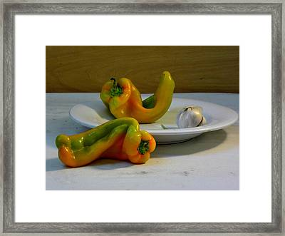Garlic And Peppers Framed Print