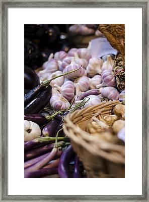 Garlic At The Market Framed Print by Heather Applegate