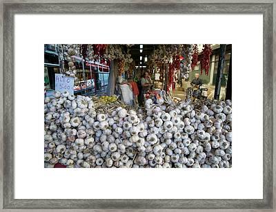 Garlic On Sale In Porto Street Market Framed Print
