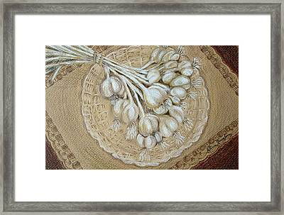 Framed Print featuring the drawing Garlic by Patricia Januszkiewicz