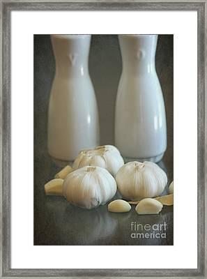 Garlic Vinegar And Oil Framed Print by Sophie Vigneault