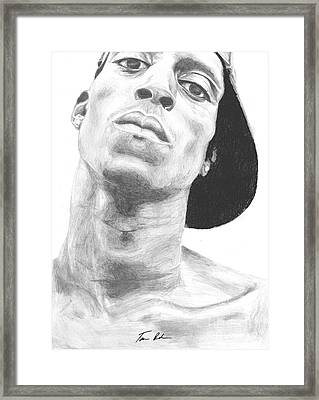 Framed Print featuring the drawing Garnett 3 by Tamir Barkan