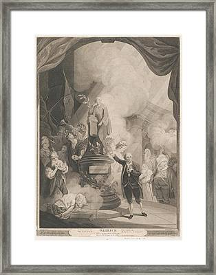 Garrick Speaking The Jubilee Ode Framed Print by after Robert Edge Pine