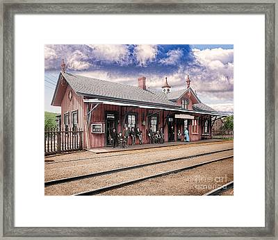 Garrison Train Station Colorized Framed Print