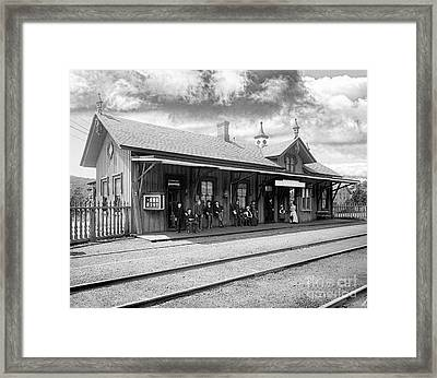 Garrison Train Station In Black And White Framed Print