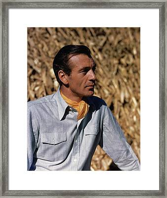 Gary Cooper In Profile Framed Print by Alexander Paal