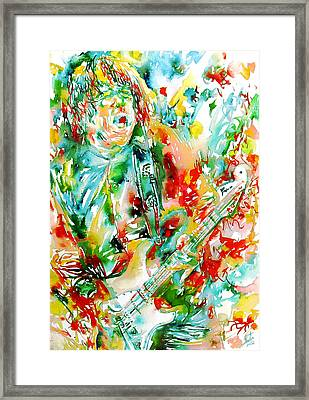 Gary Moore Playing The Guitar Watercolor Portrait Framed Print