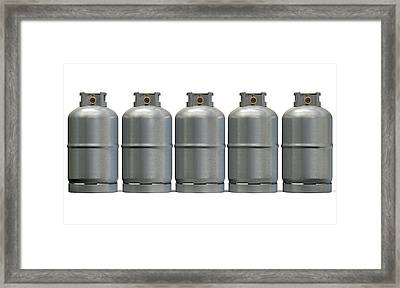 Gas Cylinder Row Framed Print by Allan Swart