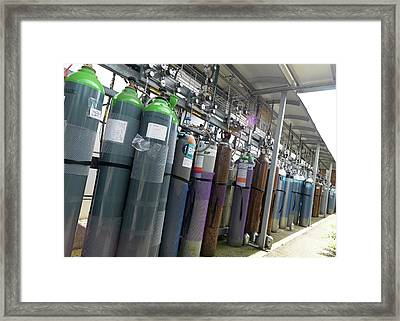 Gas Cylinder Storage Framed Print by Andrew Brookes, National Physical Laboratory/science Photo Library