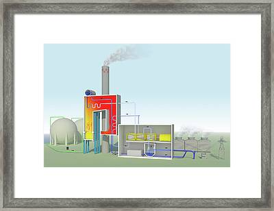 Gas-fired Power Station Framed Print by Science Photo Library