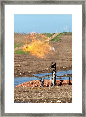 Gas Flare At An Oil Field Framed Print by Jim West