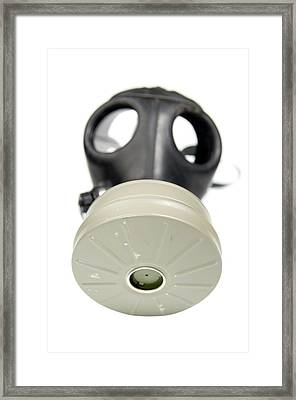 Gas Mask On Whit Framed Print