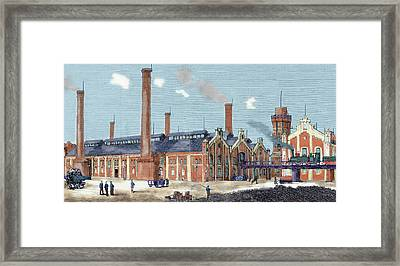 Gas Plant Cologne, Germany Colored Framed Print by Prisma Archivo