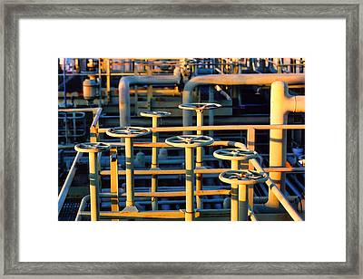 Gas Plant Valves Framed Print by Art Block Collections
