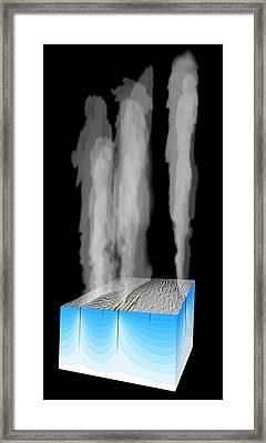 Gas Plumes On Enceladus Framed Print by Nasa/jpl