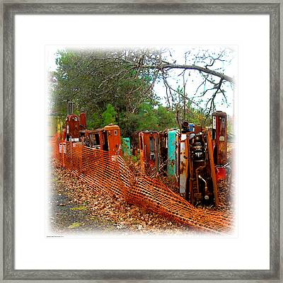 Gas Pump Gathering Framed Print