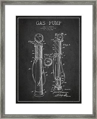 Gas Pump Patent Drawing From 1930 - Dark Framed Print by Aged Pixel
