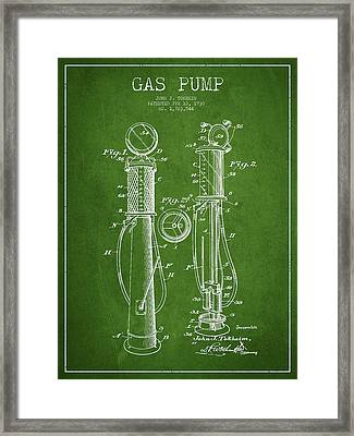 Gas Pump Patent Drawing From 1930 - Green Framed Print by Aged Pixel
