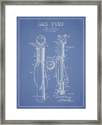 Gas Pump Patent Drawing From 1930 - Light Blue Framed Print by Aged Pixel