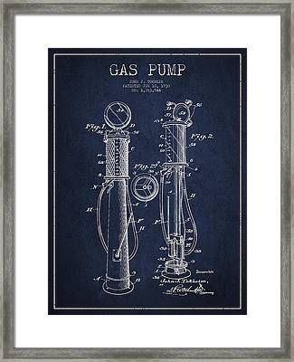 Gas Pump Patent Drawing From 1930 - Navy Blue Framed Print by Aged Pixel