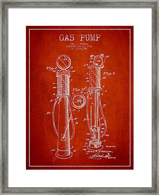 Gas Pump Patent Drawing From 1930 - Red Framed Print by Aged Pixel