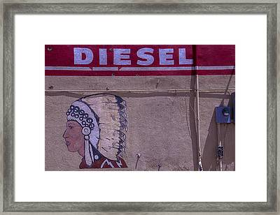 Gas Station Indian Chief Framed Print
