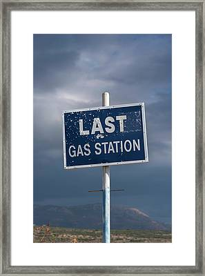 Gas Station Roadsign Framed Print by David Parker