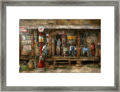 Gas Station - Sunday Afternoon - 1939 Framed Print by Mike Savad