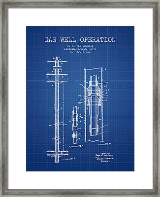Gas Well Operation Patent From 1937 - Blueprint Framed Print