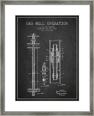 Gas Well Operation Patent From 1937 - Charcoal Framed Print