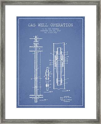 Gas Well Operation Patent From 1937 - Light Blue Framed Print