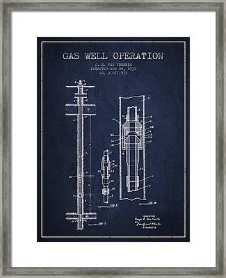 Gas Well Operation Patent From 1937 - Navy Blue Framed Print