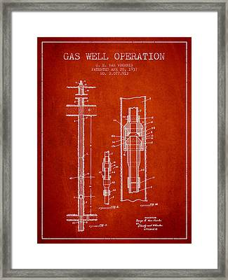 Gas Well Operation Patent From 1937 - Red Framed Print